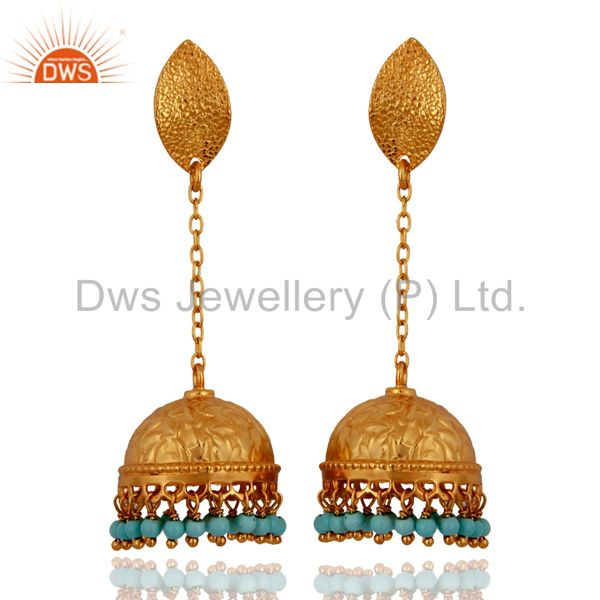 Indian Ethnic 925 Sterling Silver Turquoise Gemstone Designer Party Wear Earring