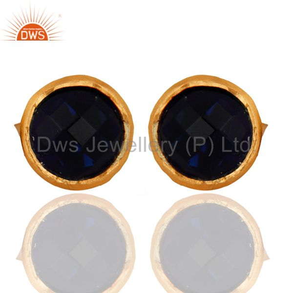 18K Yellow Gold Plated Sterling Silver Blue Corundum Round Stud Earrings