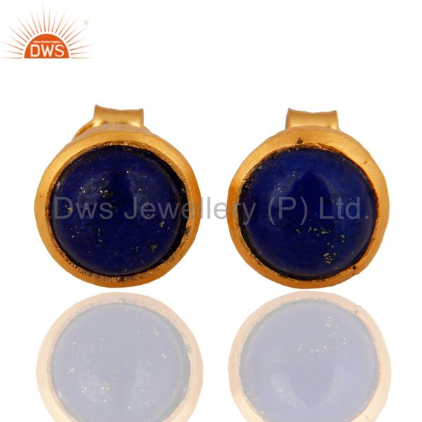 Handmade 18K Gold Plated Sterling Silver Lapis Lazuli Stud Earrings