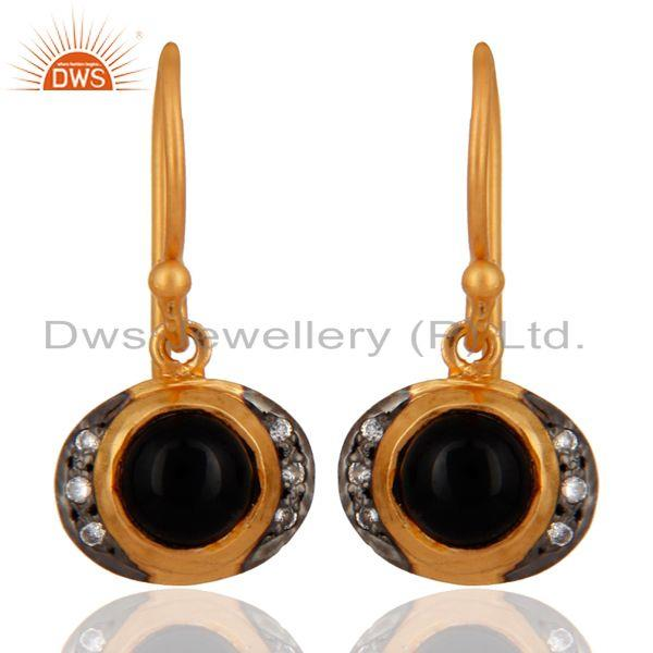 18K Yellow Gold Plated 925 Sterling Silver Black Onyx & White Zircon Earring