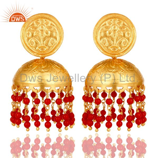 Handcrafted 22K Gold Over 925 Sterling Silver Red Coral Jhumka Earring For Girls