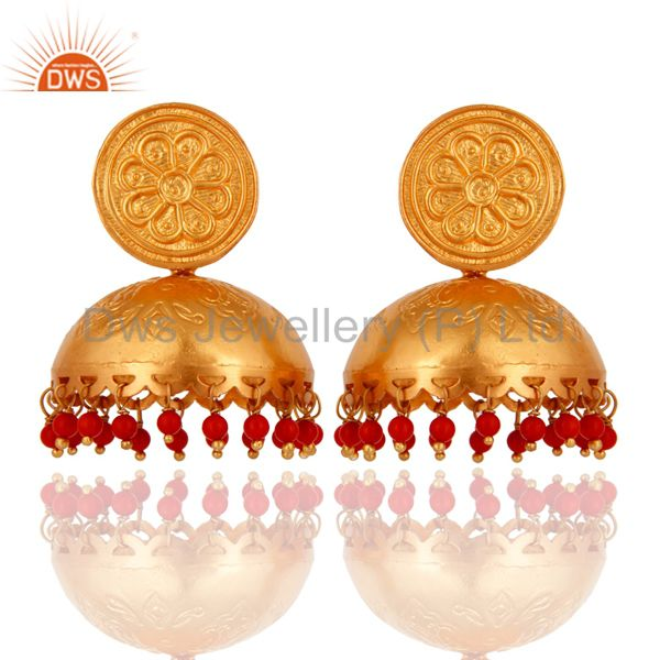 Red Coral Gemstone Stunning Gold Plated Sterling Silver Ethnic Jhumka Earrings
