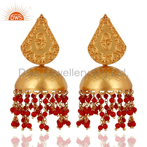 18K Gold Plated 925 Sterling Silver Jaipur Jhumkas Earrings With Red Coral