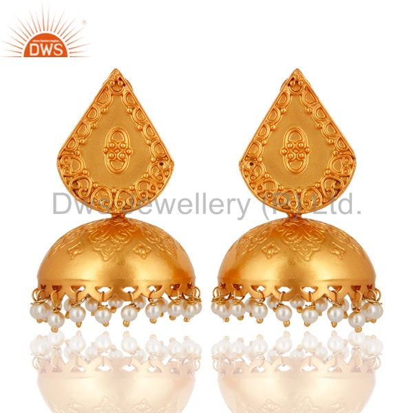 Indian Artisan Handmade 925 Sterling Silver Natural Pearl Gold Plated Earrings