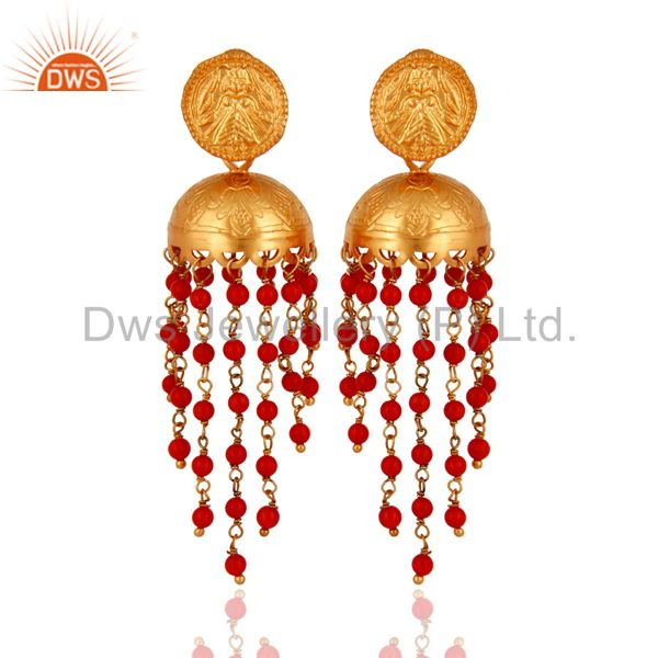 22K Gold Plated 925 Sterling Silver Red Coral Gemstone Designer Jhumka Earrings