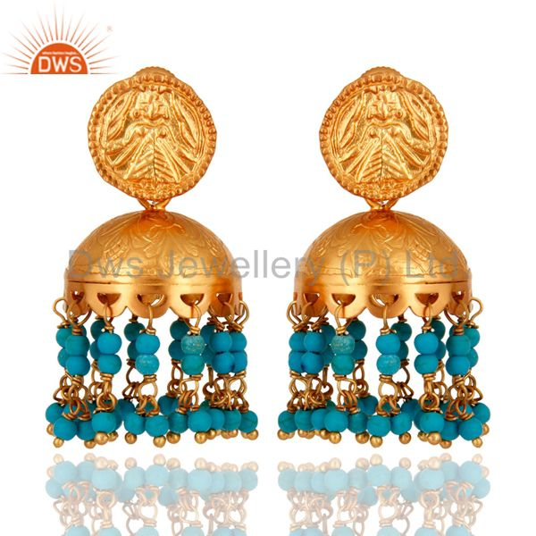 18K Gold Plated Sterling Silver Turquoise Gemstone South Indian Style Earrings