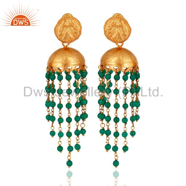 Indian Designer 22K Gold Plated 925 Sterling Silver Green Onyx Maharaja Earrings
