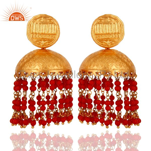 Traditional Red Coral Sterling Silver 22K Gold Plated Designer Jhumka Earrings