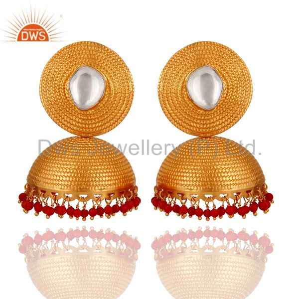 22K Gold On 925 Sterling Silver Crystal Quartz Polki & Red Coral Beads Earring