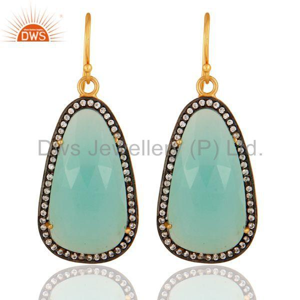 18K Yellow Gold Plated Sterling Silver CZ & Dyed Aqua Chalcedony Dangle Earrings