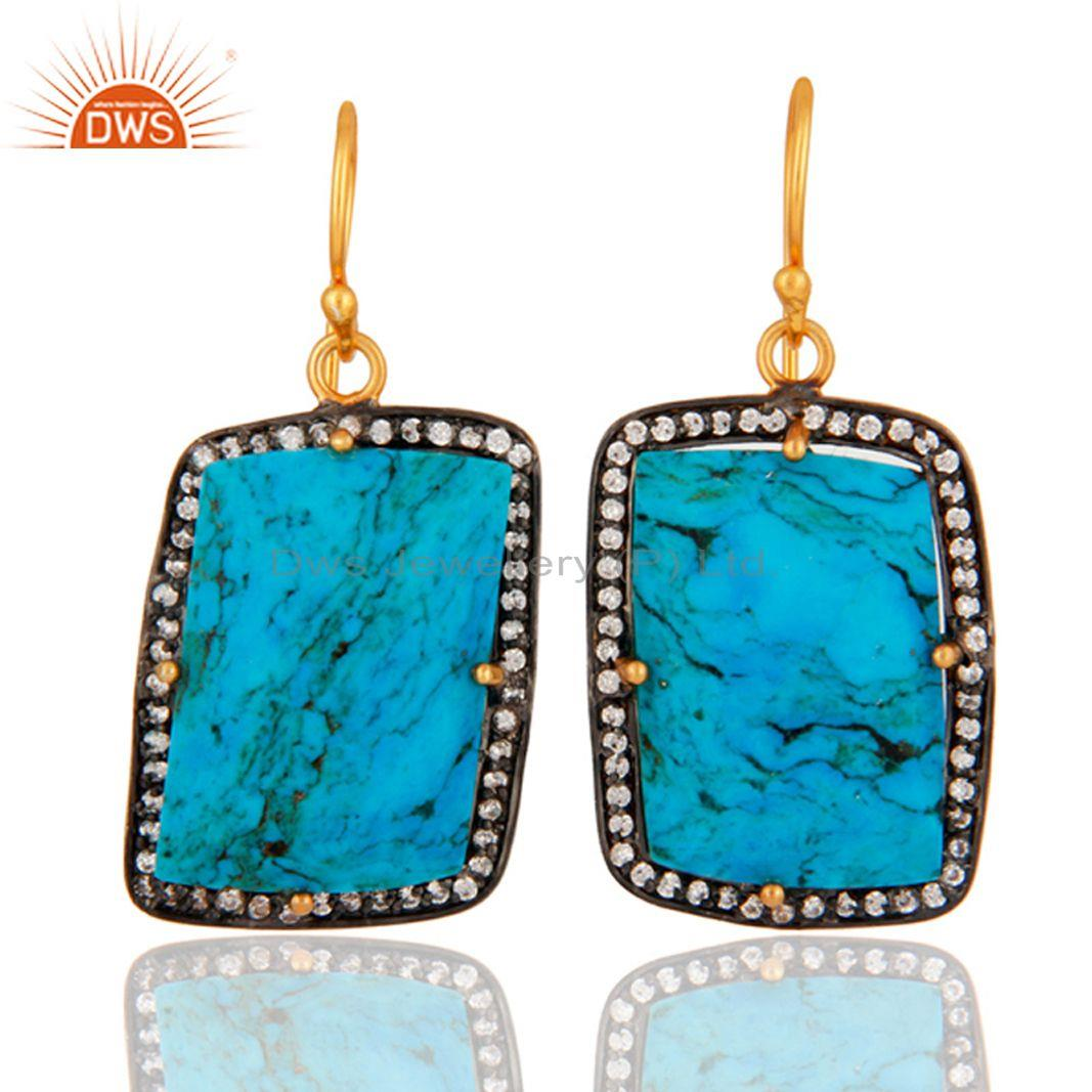 24K Gold Plated 925 Sterling Silver Turquoise Gemstone Earring With White Zirco