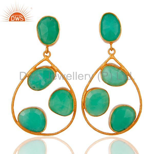 Handmade Chrysoprase Gemstone Earrings In 24K Gold Over Sterling Silver Jewelry