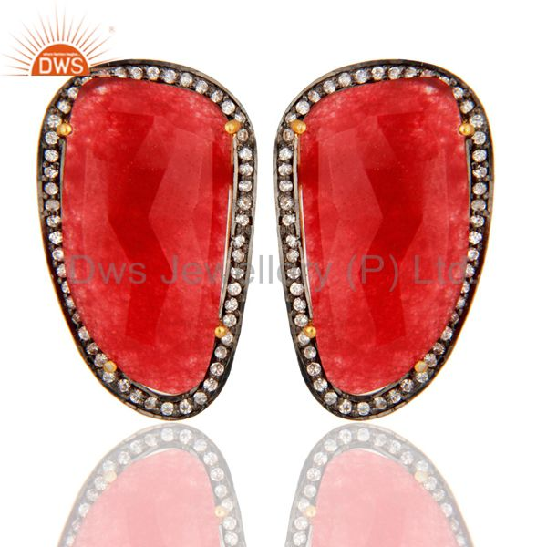 18K Gold Plated Sterling Silver Red Aventurine Gemstone Fashion Stud Earrings