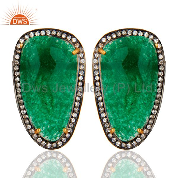 Green Aventurine Gemstone Stud Earrings With CZ Made In 18K Gold Over 925 Silver
