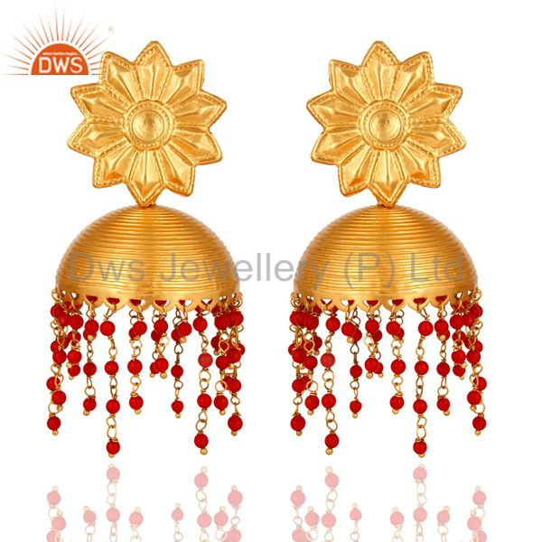 Handmade Sterling Silver With 22K Gold Plated Earrings Designer Temple Jewelry