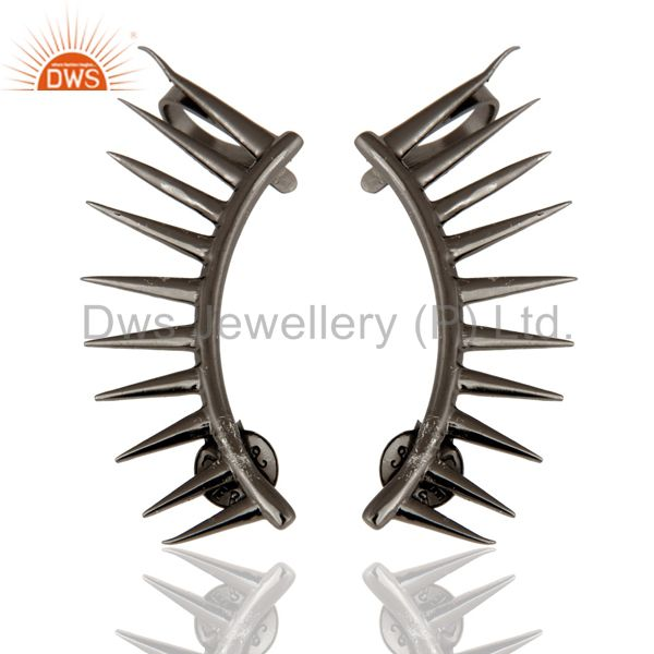 Black Rhodium Plated Sterling Silver Spike Designer Womens Ear Cuff Earrings