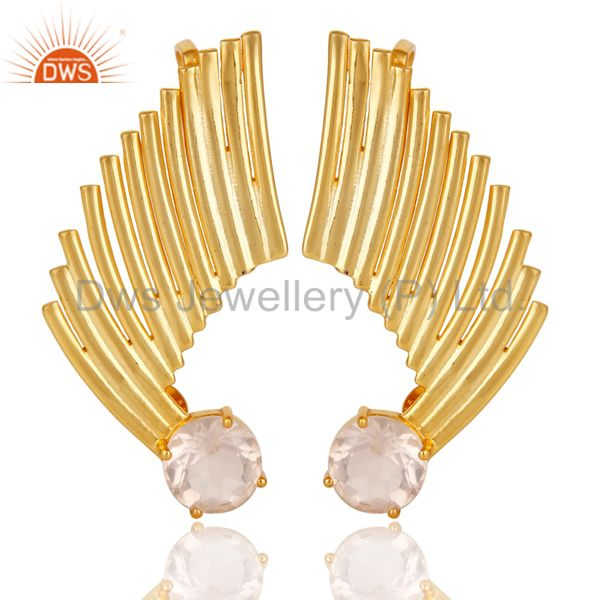 22K Gold Plated 925 Sterling Silver Art Deco Rose Quartz Ear Cuff Studs Earrings
