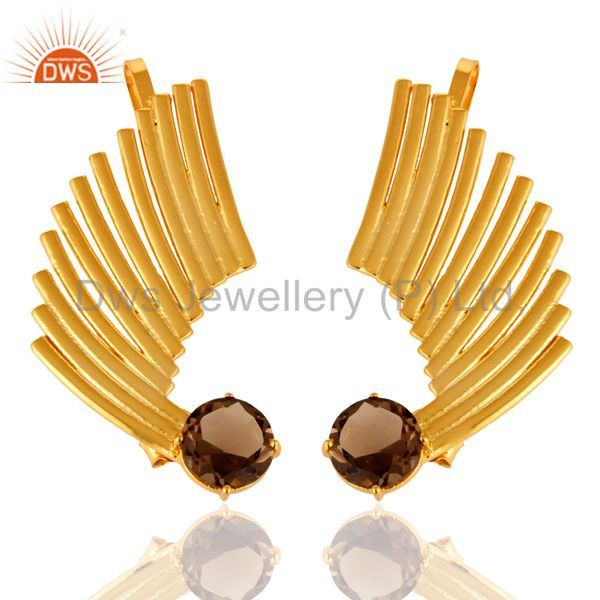 14K Gold Plated Sterling Silver Smoky Quartz Ladies Fashion Ear Cuff Earrings