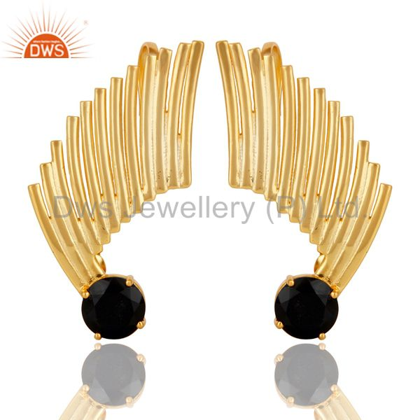 14K Gold Plated Sterling Silver Black Onyx Ladies Fashion Ear Cuff Earrings