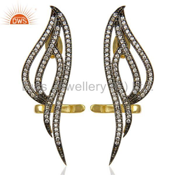 14K Yellow Gold Traditional Handmade White Zircon Fashion Ear Cuff Earrings