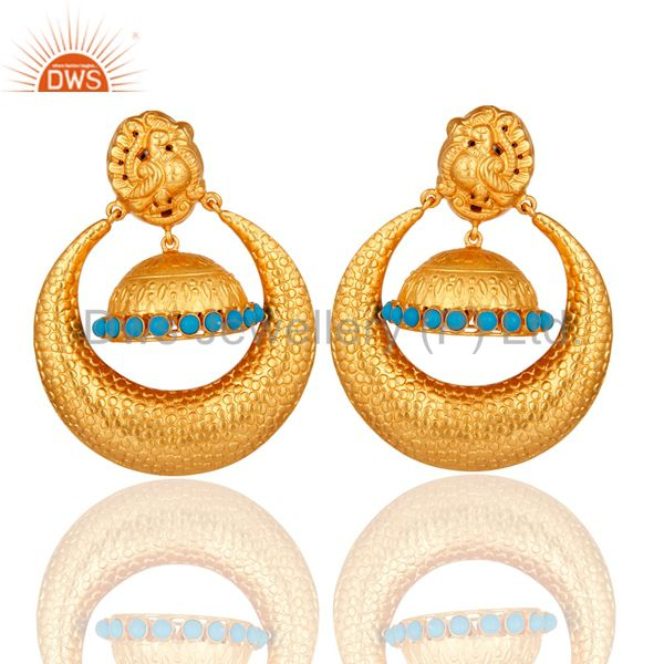 Textured Gold Plated Sterling Silver Peacock Design Jhumka Earrings With Turquoi