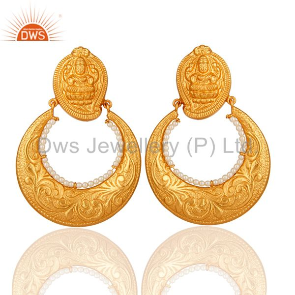 24K Gold Plated Sterling Silver Lakshmi Engraved Jhumka Earrings With Pearl