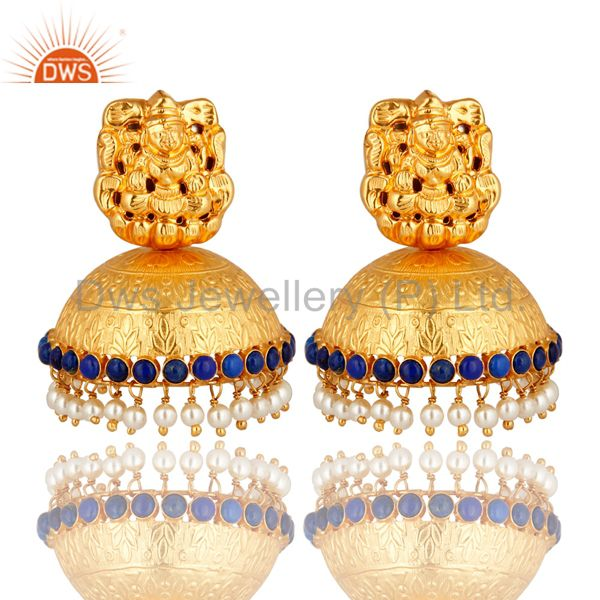 Gold Plated Silver Lakshmi Engraved Lapis & Pearl South Indian Jhumkas Earrings