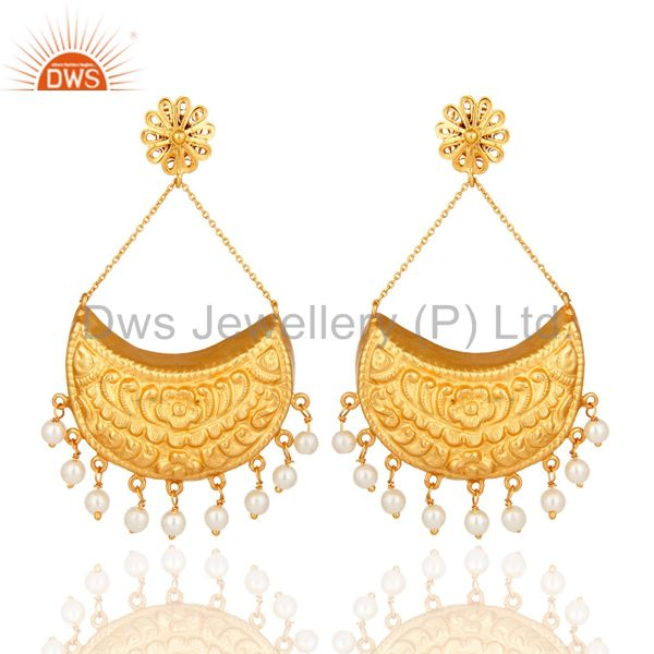 18K Gold plated Sterling Silver Crescent Moon Dangle Earrings With Pearl Beads