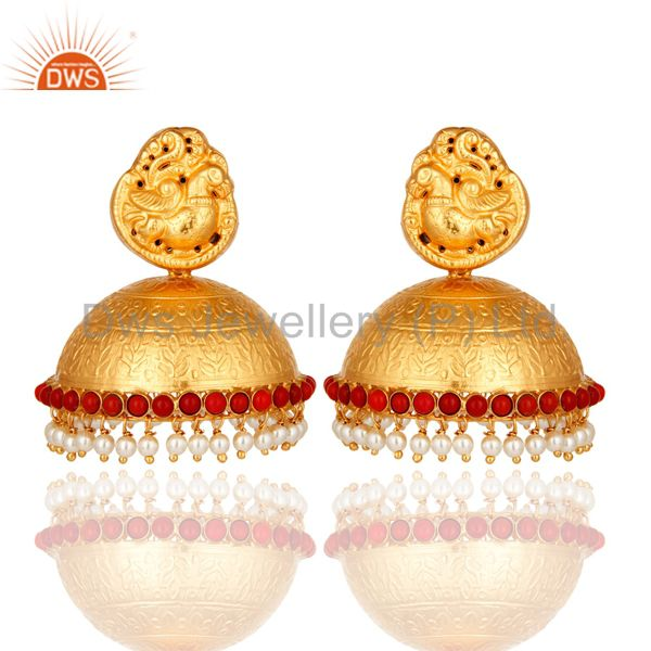 18K Gold On Sterling Silver Maharajas Traditional Jhumka Earrings With Pearl