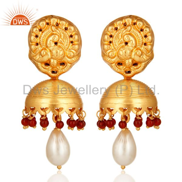 Red Onyx And Pearl High End Designer Jhumka Earrings in 14K Gold On Sterling Sil