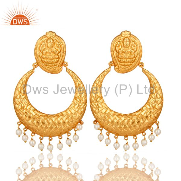 14K Gold Plated Sterling Silver Natural Pearl Traditional Chandelier Earrings