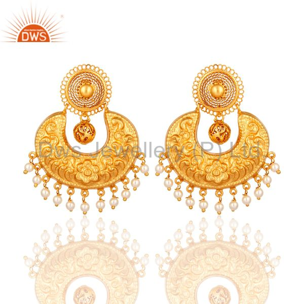 Natural Pearl Sterling Silver With Yellow Gold Plated Ethnic Designer Earrings