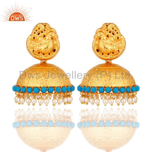 22K Gold Plated Sterling Silver Traditional Style Natural Pearl Jhumka Earrings