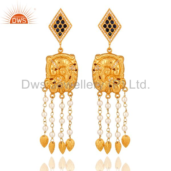 22-K Yellow Gold Plated Sterling Silver Sapphire Designer Chandelier Earrings