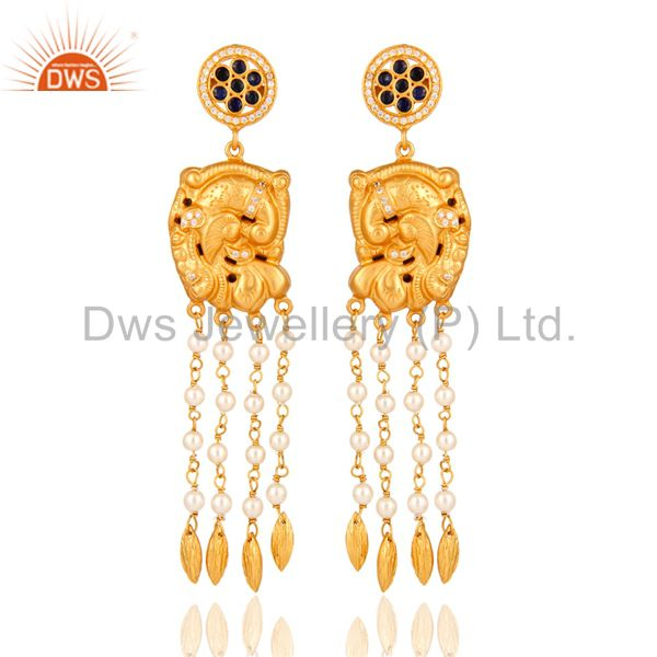 925 Sterling Silver Pearl And Blue Sapphire Gold Plated Bridal Temple Earrings