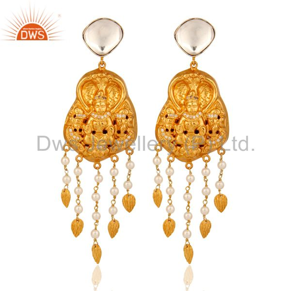 Natural Pearl Sterling Silver With Gold Plated Latest Designs Temple Earrings