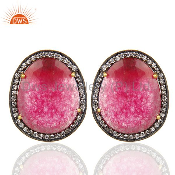 14K Gold Plated 925 Sterling Silver Red Aventurine White Zircon Stud Earrings