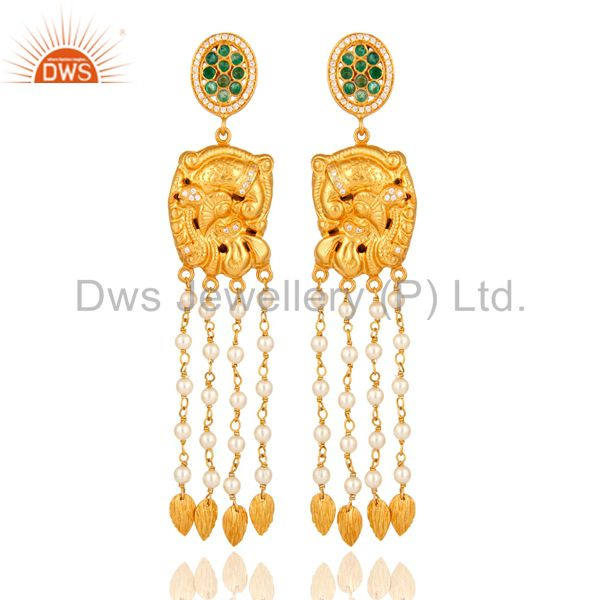 22K Gold Plated Sterling Silver Emerald Indian Traditional Chandelier Earrings