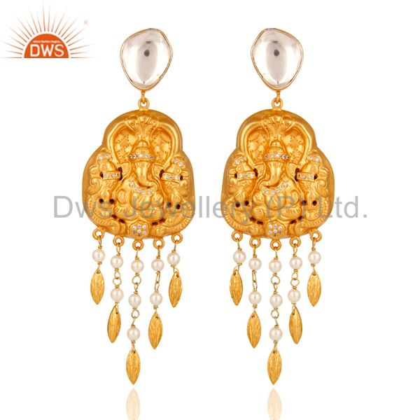 22-K Yellow Gold Plated Sterling Silver Ganesh Carved Earring - Temple Jewelry