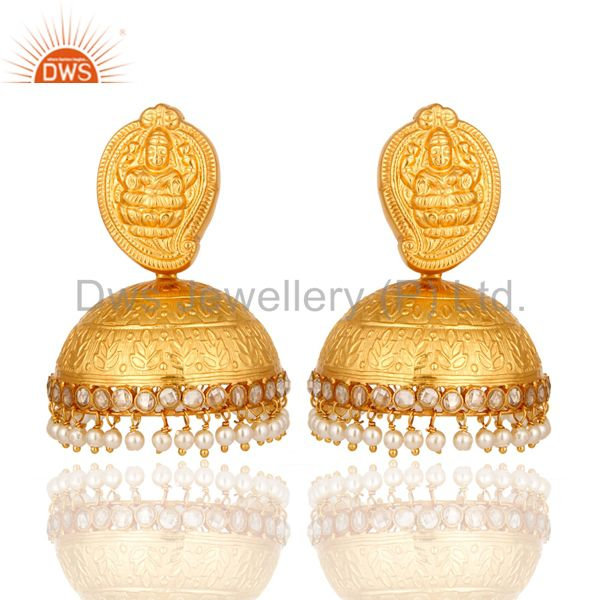 22K Yellow Gold Plated Temple Earrings Jewelry With Natural Pearl & CZ