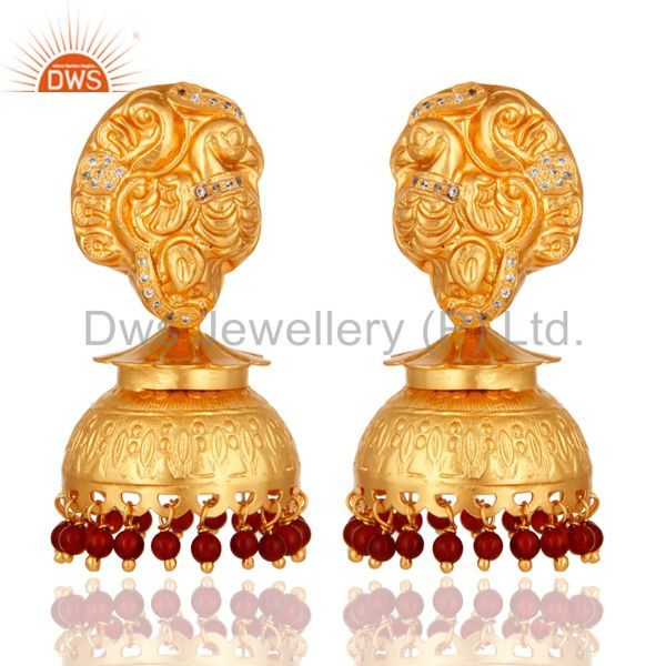 22K Gold Plated Sterling Silver Maharajah Traditional Jhumka Earring - Red Coral