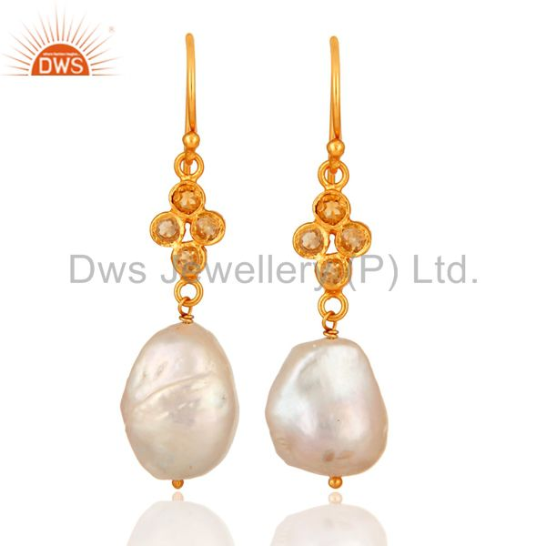 Handmade Sterling Silver Natural Pearl And Citrine Dangle Earrings - Gold Plated