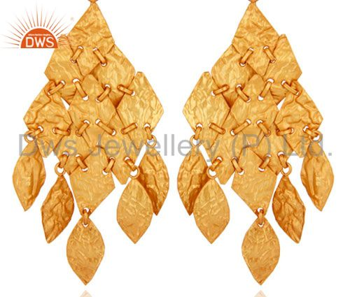 14K Yellow Gold Plated 925 Sterling Silver Handmade Chandelier Earrings Jewelry