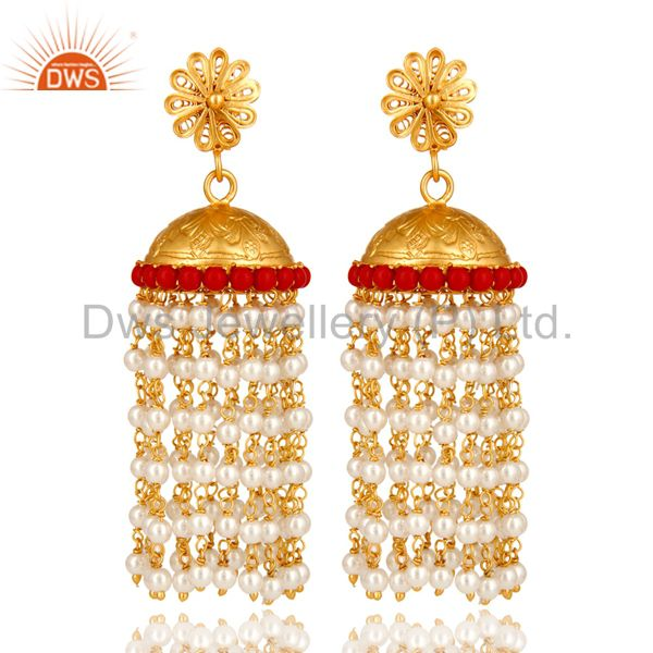 18K Yellow Gold Plated Sterling Silver Red Coral And Pearl Beads Jhumka Earrings