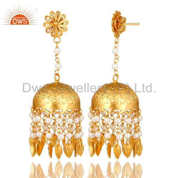 14K Yellow Gold Plated Sterling Silver White Pearl Designer Jhumka Earrings