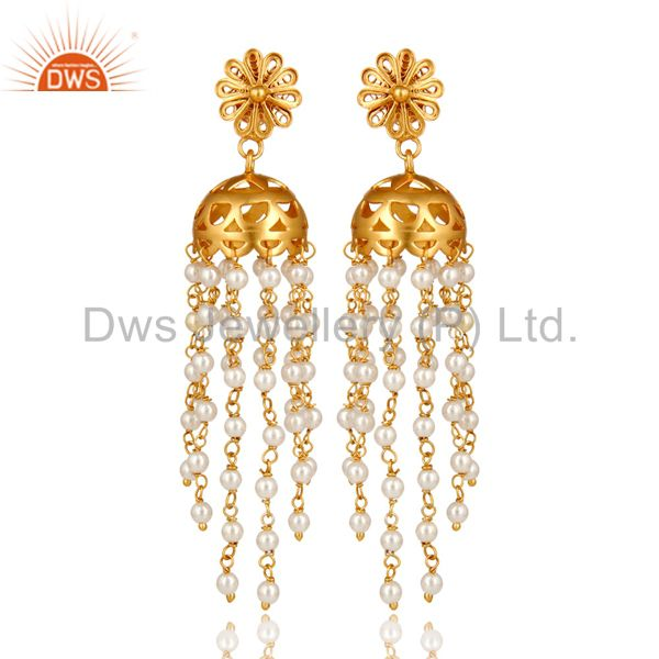18K Yellow Gold Plated Sterling Silver White Pearl Bead Chain Chandelier Earring