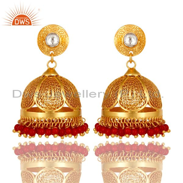 18K Gold Plated Sterling Silver CZ Polki And Red Coral Designer Jhumka Earrings