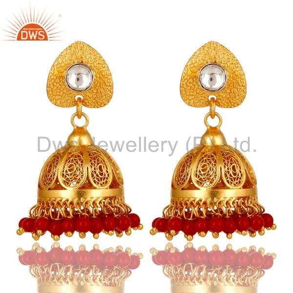 22K Gold Plated Sterling Silver CZ Polki And Red Coral Designer Jhumka Earrings