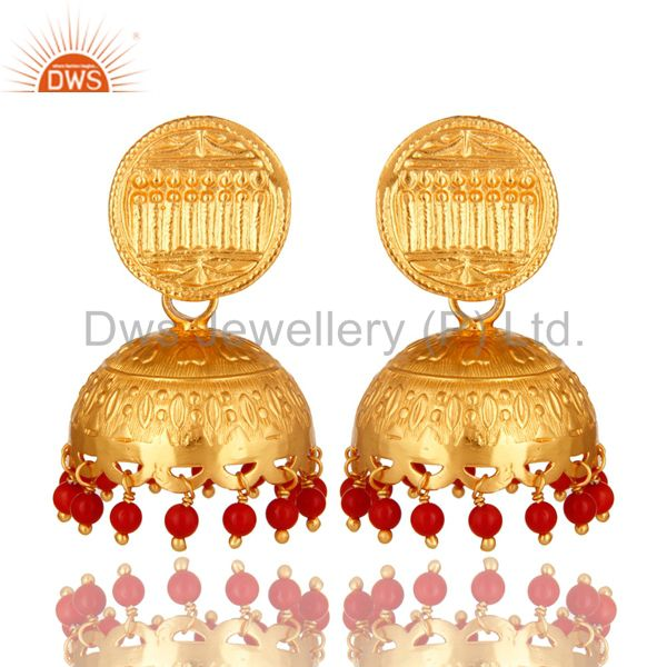 14K Yellow Gold Plated Sterling Silver Indian Jhumka Earrings With Red Coral