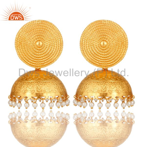 18K Gold Plated Sterling Silver Designer Pearl Jhumka Earrings